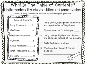 Non-Fiction Text Features First Grade First Thanksgiving