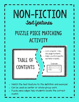 Non-Fiction Text Features Matching Activity