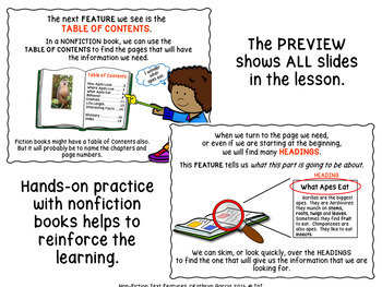 Nonfiction Informational Text Features Powerpoint for Classroom Library Skills