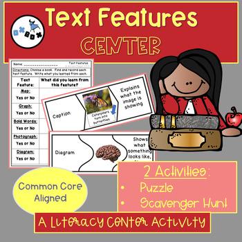 Non-Fiction Text Features Puzzle Activity: An ELA Center Activity