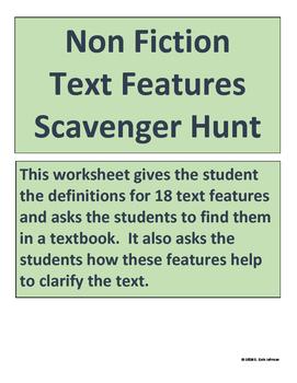 Non Fiction Text Features Scavenger Hunt for Grades 6-12