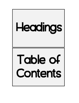Non-Fiction Text Features:  Table of Contents and Headings Sort