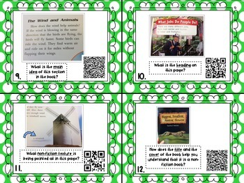 Nonfiction Text Features Task Cards with QR Codes {2nd grade CC Aligned}