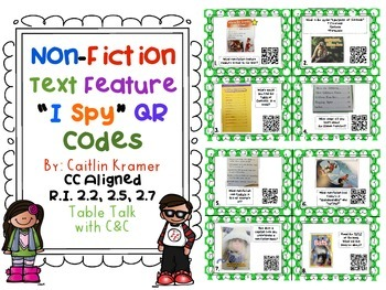 Nonfiction Text Features Task Cards with QR Codes {2nd gra