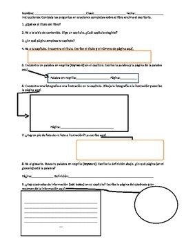 Non Fiction Text Features Test (English and Spanish)
