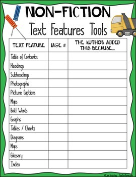Non-Fiction Text Features Tool Kit for Reading Success ~ Comprehension Resource