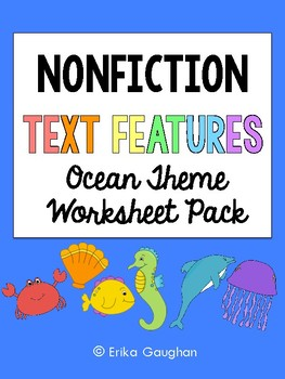 Nonfiction Text Features Worksheet Pack {Ocean Animal Theme}