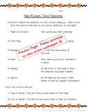 Non Fiction Text Features Worksheet