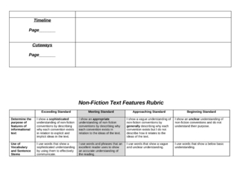 Non-Fiction Text Features/Conventions Test with Rubric Grades 3-6
