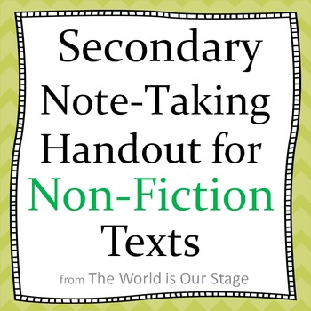 Non Fiction Text Handout for Note Taking with Secondary Students--Super Easy!