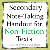Non Fiction Text Handout for Note Taking with Secondary St