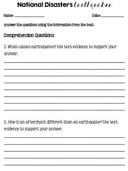 Natural Disasters Nonfiction Passages and Text Dependent Questions