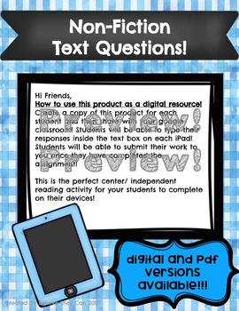 Non-Fiction Text Questions for All Passages!  DIGITAL and PDF Versions