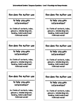Non-Fiction Text Readers' Response Prompts (Knowledge/Comprehension)
