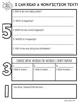 Non-Fiction Text Reponse Graphic Organizer