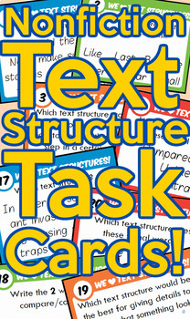 Non Fiction Text Structure Task Cards! + Free Scoot Board