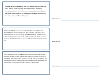 Non-Fiction Text Structures and Features Assessment (3rd grade)