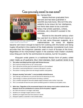 Non-Fiction Text with Multiple Choice Questions & Writing Prompt: Science & Art