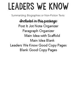 Non-Fiction Texts: Biography Summary Organizer