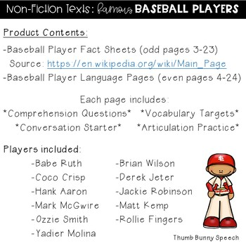 Non-Fiction Texts: Famous Baseball Players - Speech/Language Packet