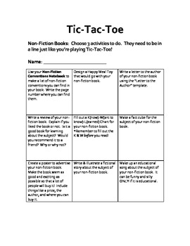 Non Fiction Tic Tac Toe Project