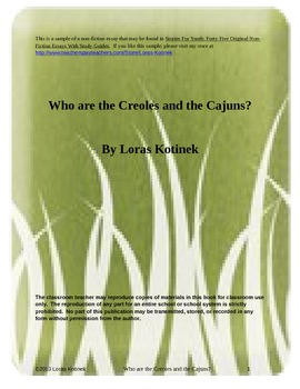 Non-Fiction Who are the Creoles and the Cajuns?  Essay with comparisons