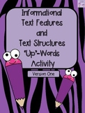"""Non-Fiction Text Features """"Up"""" Words Activity (Informational Text Features)"""
