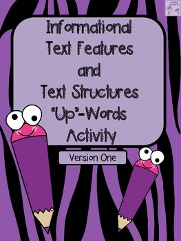"Non-Fiction Text Features ""Up"" Words Activity (Informational Text Features)"