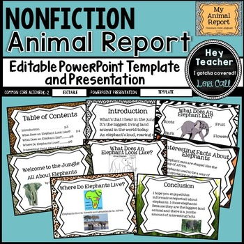 Nonfiction Writing All About Animal Report Editable Powerpoint Template