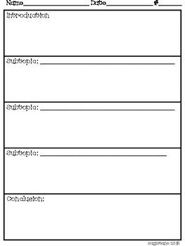Non-Fiction Writing Graphic Organizer Single Page