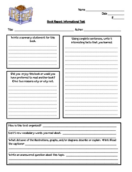 Free printable 5th grade book report template