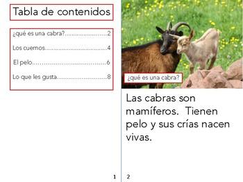 Non-Fiction book in Spanish Level E - Las cabras