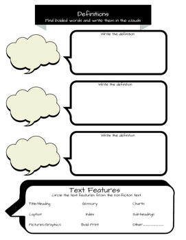 Non-Fiction research graphic organizer