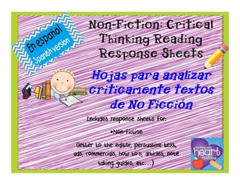 Non-Fiction: response sheets IN SPANISH/ Analizar textos d