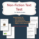 Non Fiction text test- assessment of text features and structures Middle Grades