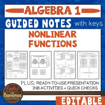Non-Linear Functions - Scaffolded Notes and Interactive Notebook Activities