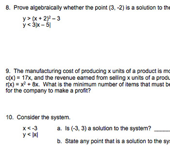 Non-Linear Systems Quiz Review (with answer key) and Quiz