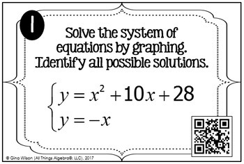 Non-Linear Systems of Equations Task Cards (Set 1 - Lines/Parabolas)