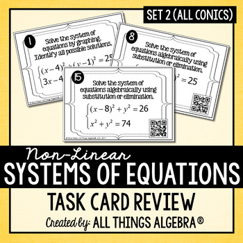 Non-Linear Systems of Equations Task Cards (Set 2 - All Conics)