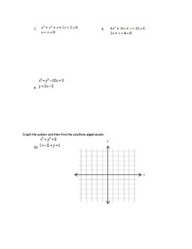 Non Linear Systems of Equations Worksheet