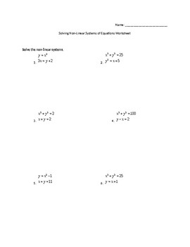 Non Linear Systems of Equations Worksheet by Math With Marie | TpT