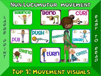 Non-Locomotor Movement- Top 10 Movement Visuals- Simple Large Print Design