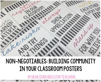 Non-Negotiables: Building Classroom Community Posters