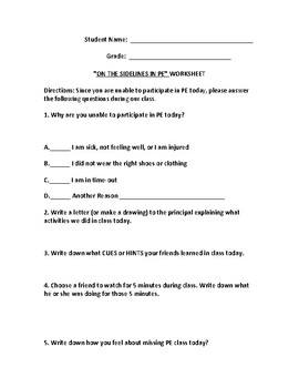 Non Participant Physical Education Worksheet