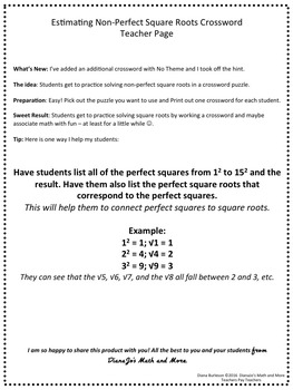 8th Grade Math Estimating Square Roots Crossword Puzzle