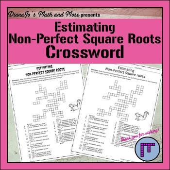 8th Grade Math Estimating Square Roots Crossword Puzzle