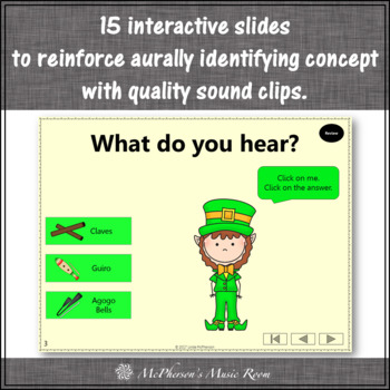 Non-Pitched Percussion Instruments Interactive Music Game {Dancing Leprechaun}