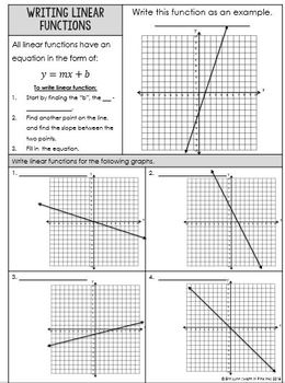 Non-Proportional Relationships: Writing Linear Equations Functions 8.F.B.4