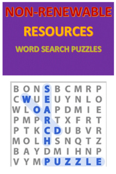 Non-Renewable Resources Word Search Puzzles
