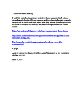 Renewable And Nonrenewable Resources Worksheet Teaching Resources ...